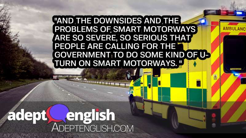A photograph of a UK motorway hard shoulder with an ambulance. Used in this English listening practice lesson.