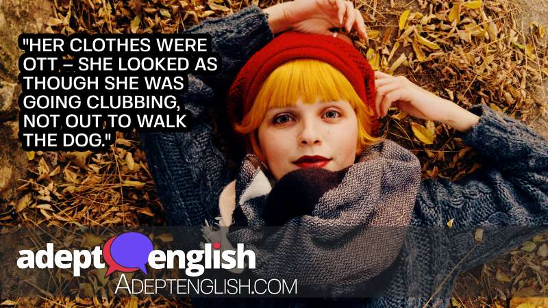 An autumn portrait photograph of a beautiful redhead woman. English spoken by native English speakers lesson.