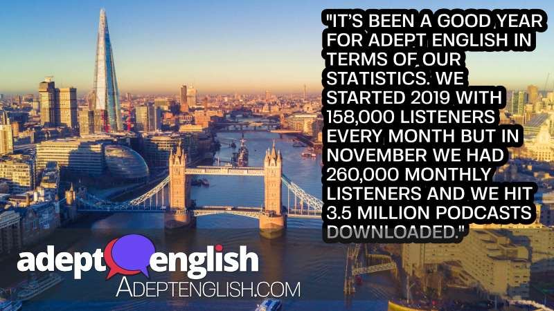 Aerial view of London and the River Thames, used in the Adept English year-end English tutorial.