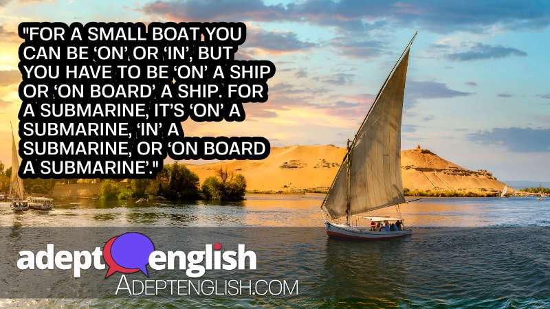 A photograph of a sailboat on the Egyptian Nile river. As we talk about English prepositions for location.