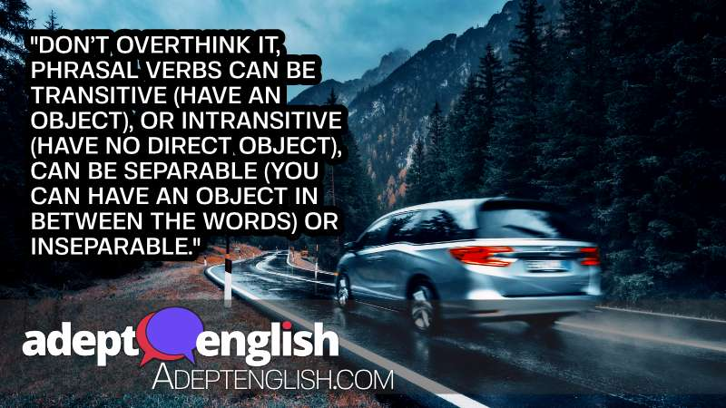 A photograph of a blurred car in motion on the road in autumn forest in rain. Explaining the subtlety of ESL English grammar contractions.