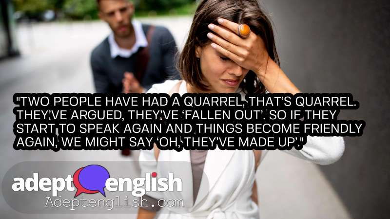 Breakup of couple with man and sad girlfriend outdoor. Helping ESL students with English grammar.