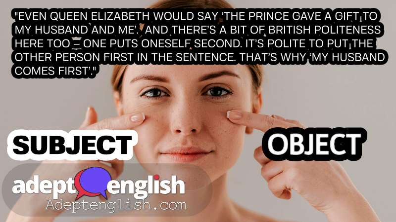 A photograph of a woman pointing at here face. A fun way to learn English grammar.