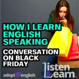 Woman looking in amazement at her shopping bags. English listening and speaking lesson using Black Friday as a discussion topic.