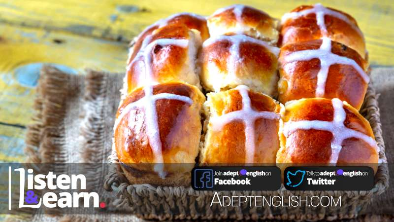 A photograph of glossy hot cross buns, because we all like cake.