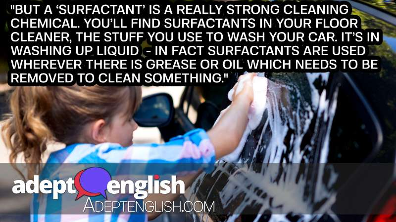 A photograph of a Teenage girl washing a car. Used to help explain surfactants in this learn English conversation.