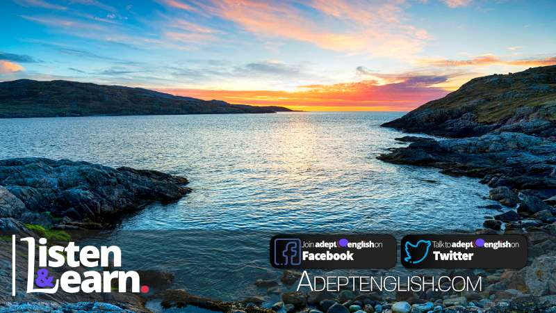 Sunset from Hushinish on the Isle of Harris in the Western Isle of Scotland and looking across to the isle of Scarp.