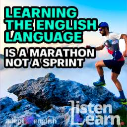 A photograph of a ultramarathon runner in the mountains during a workout. As we talk about the time it takes to learn to speak English.