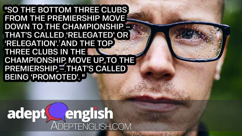 A photograph of an unhappy man after his football team is relegated. A topic of discussion in this learn English speaking lesson.