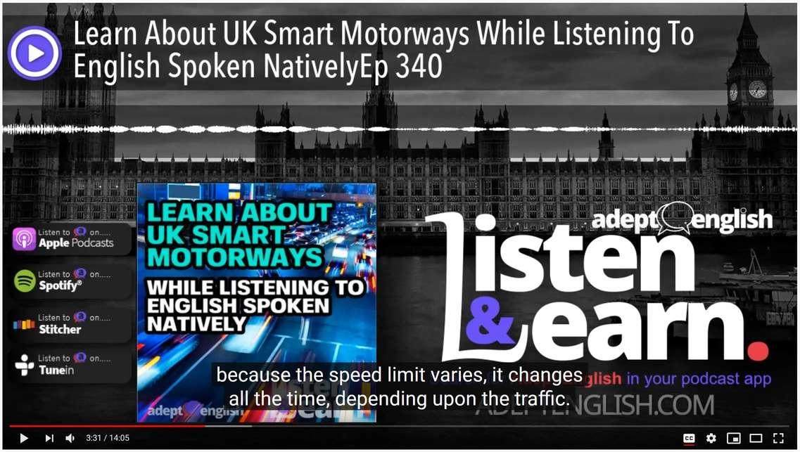 A screenshot of the Adept English channel audio lesson with built in subtitles