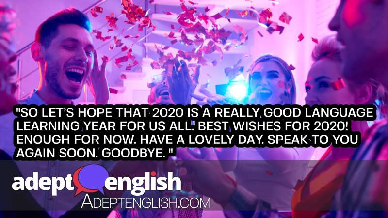 A photograph of people at a new year party celebrating the start of 2020, explaining why acquisition is better than learning for English.