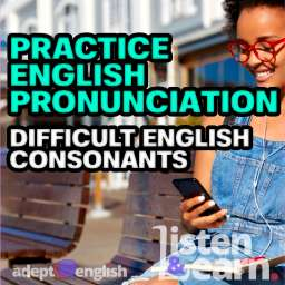 A photograph of a girl listening to Adept English outside on a sunny day. We focus on English consonants in todays English pronunciation practice.