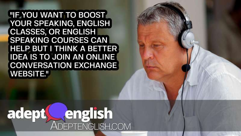 A photograph of a man talking with another language learner online to help practice speaking English.
