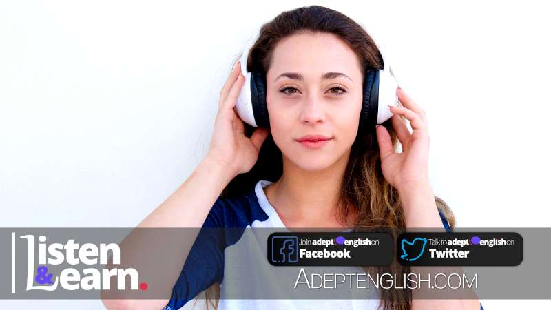 A photograph of a lady wearing white in ear headphones listening to an Adept English learn English through listening podcast. Used as the cover image for Learn English 120 Article How To Get The Best Out Of Your Speaking English Podcast.