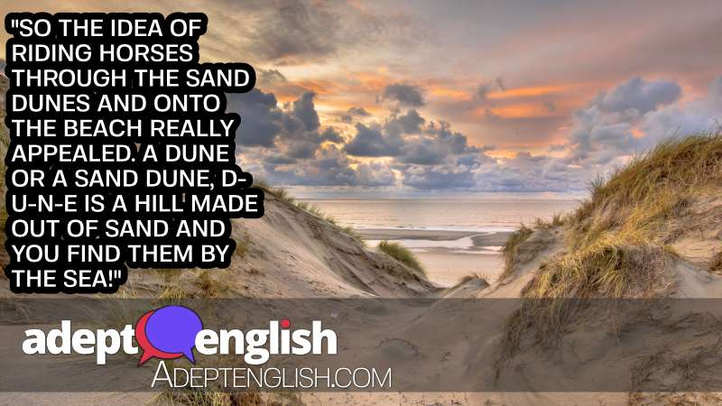 An amazing photograph of sand dunes with the ocean in the background. Used to help explain the English word dune used in an English language listening lesson.