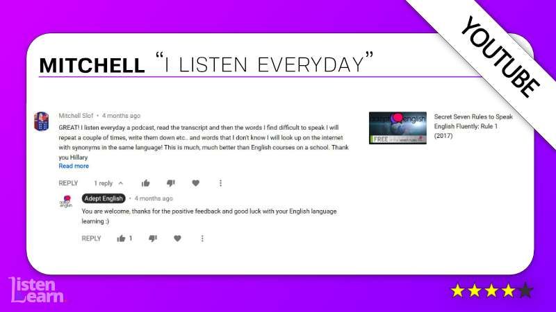 See what Mitchell and other English language students have to say about our way of learning to speak English.