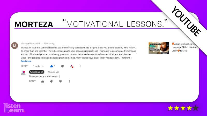 See what Morteza and other English language students have to say about our way of learning to speak English.