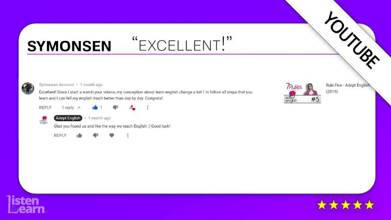 See what Symonsen and other English language students have to say about our way of learning to speak English.